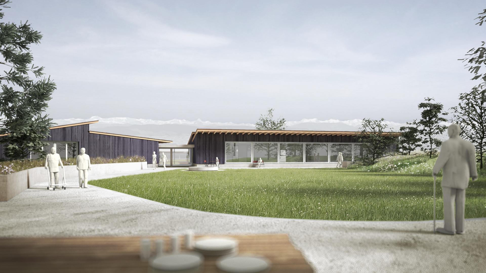 Architektur-Entwurf für den Neubau Rütibühl der Martin Stiftung.