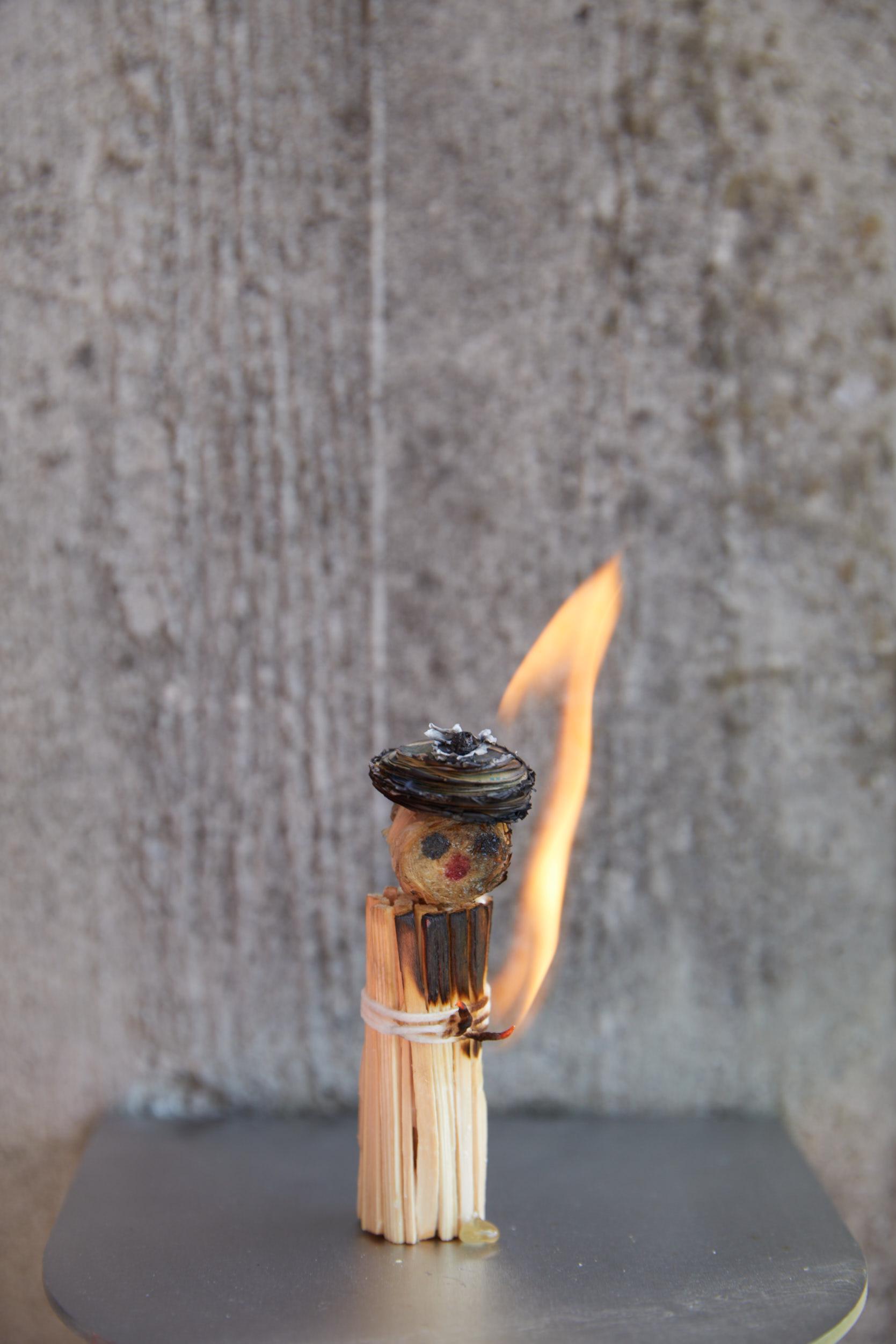 Feuriger Martin steht in Flammen.
