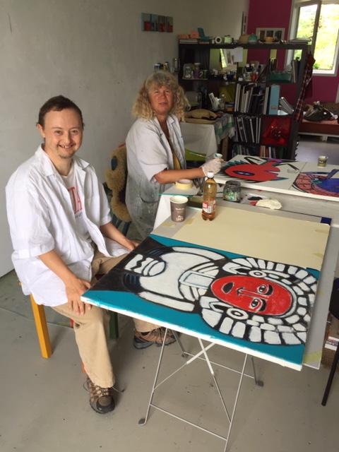 Künstler Tandem: Beat Bucher und Theres Berka im Zürcher Atelier bei der Arbeit.