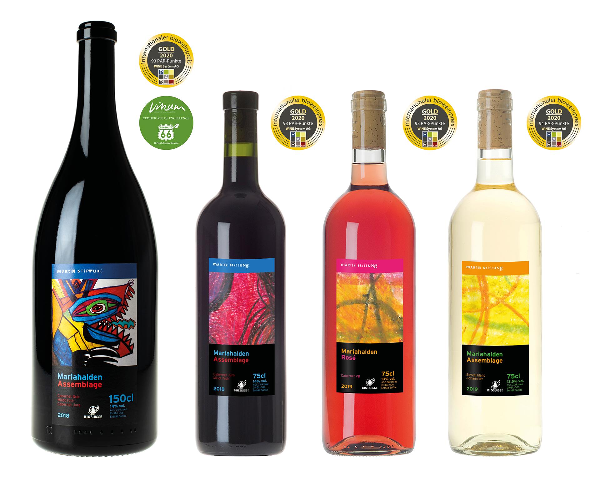 Weine der Martin Stiftung im Jahr 2020: Rotwein-Magnumflasche (125cl), Rotwein, Weisswein und Rosé - alle ausgezeichnet mit der Goldmedaille vom Internationalen Bioweinpreis
