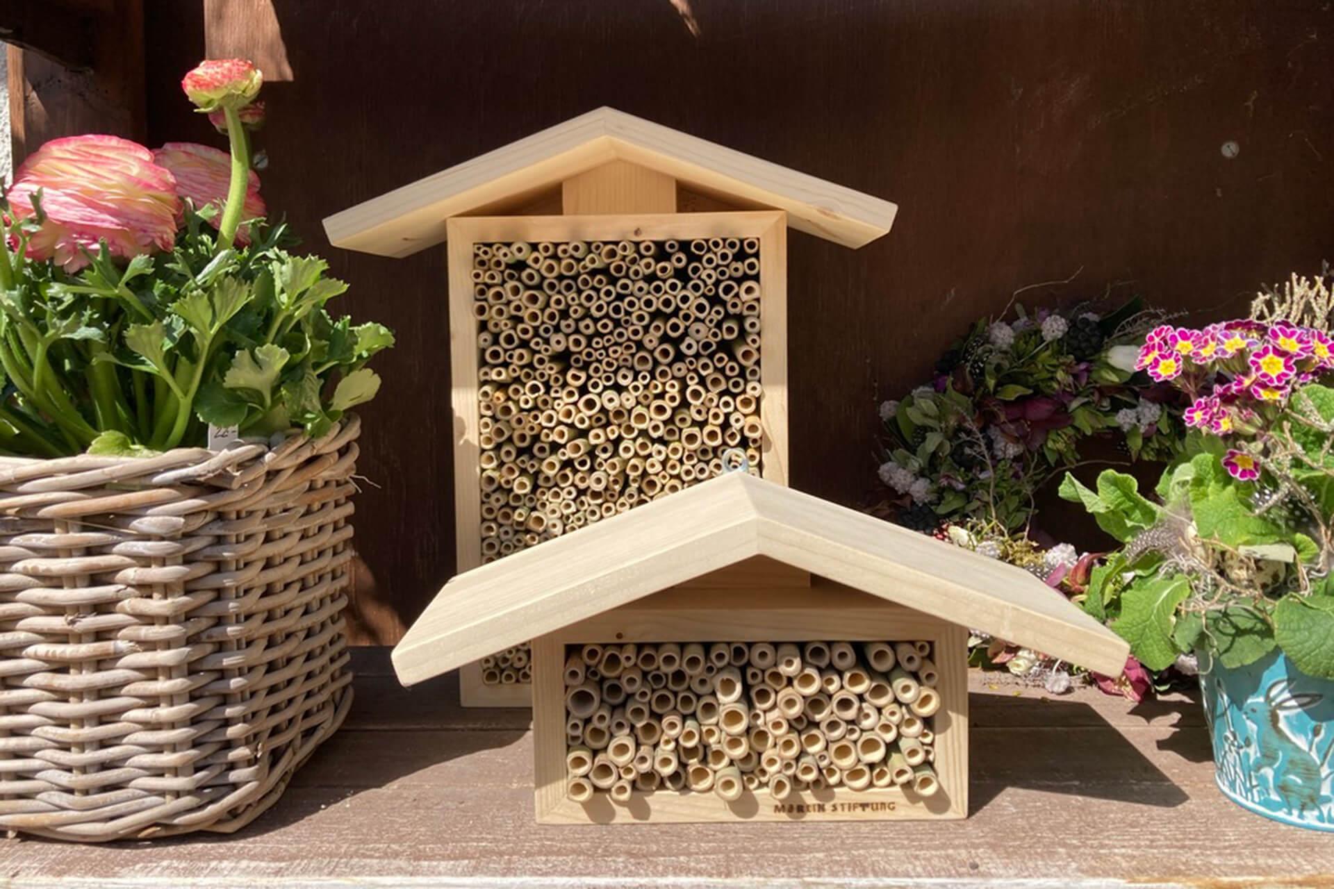 Fertige Bienenhotels im Grünen Martin - dort gibt es auch die Lieblingsblumen der Bienen.