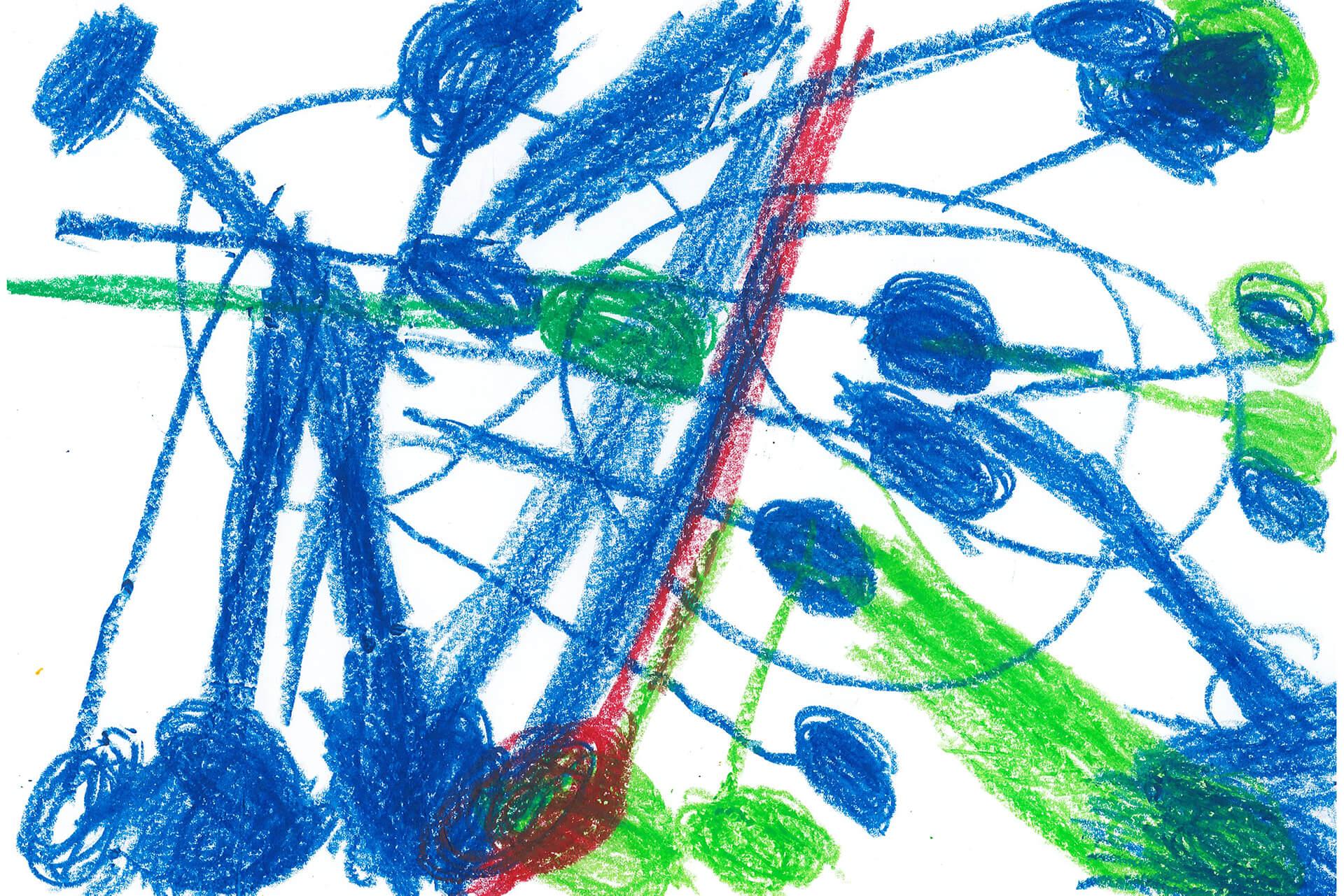 Corona-Viren in blau und grün gemalt