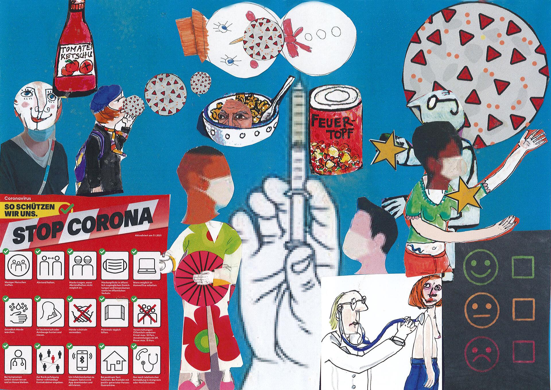 Collage mit Corona-Plakat, Spritze und anderen Motiven aus dem Corona-Jahr.