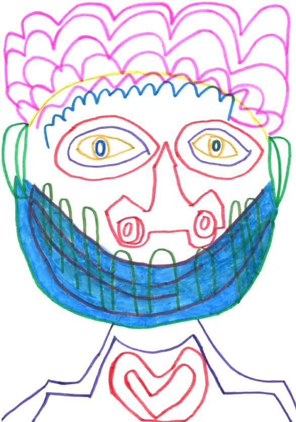 Mann trägt Corona-Maske, ihm schlägt das Herz bis zum Halse.