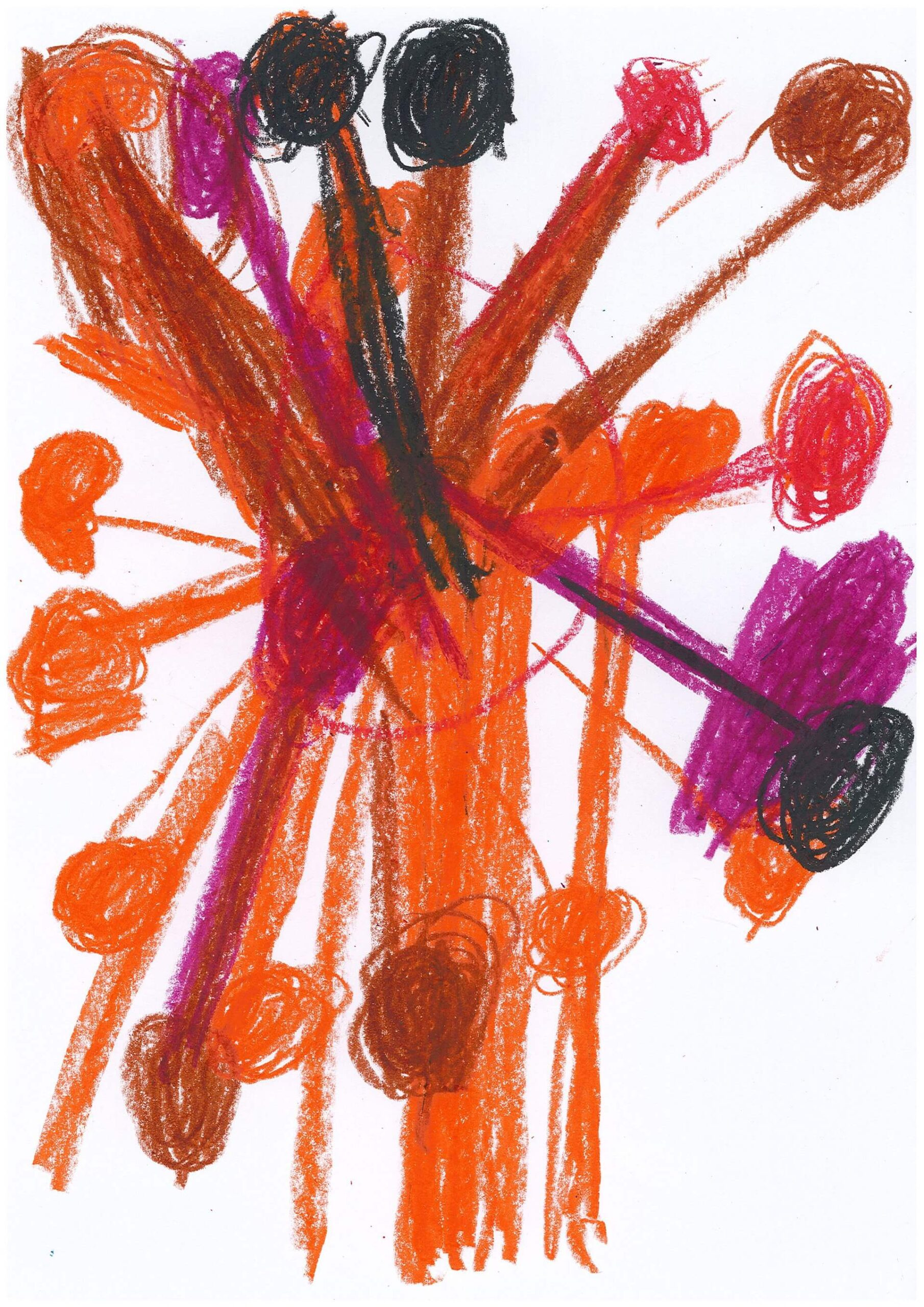 Rot, orange, lila, braun und schwarz sind die Spike-Proteine von diesem Corona-Virus.