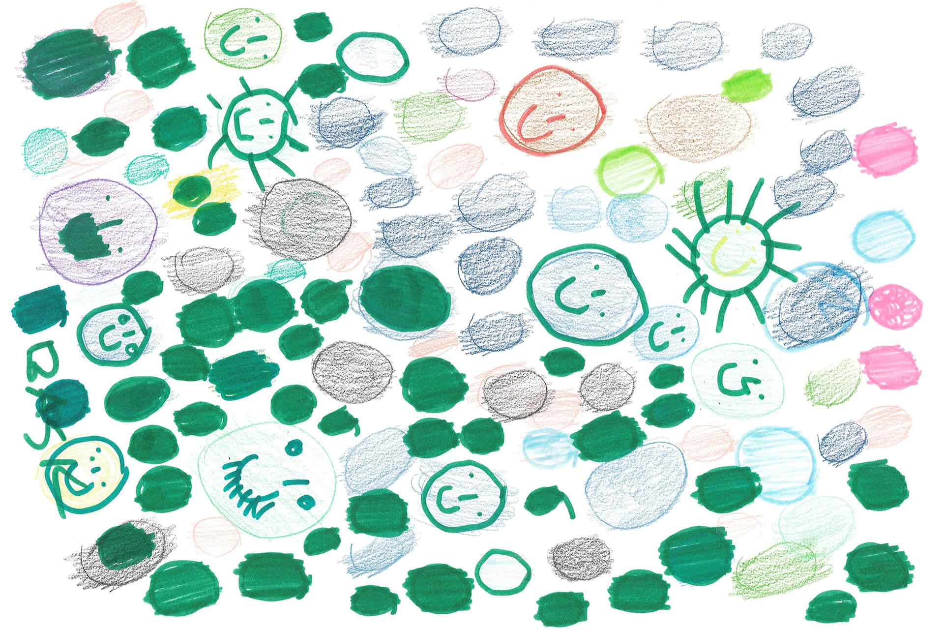 Viele kleine Viren in allen Farben, einige lächeln.