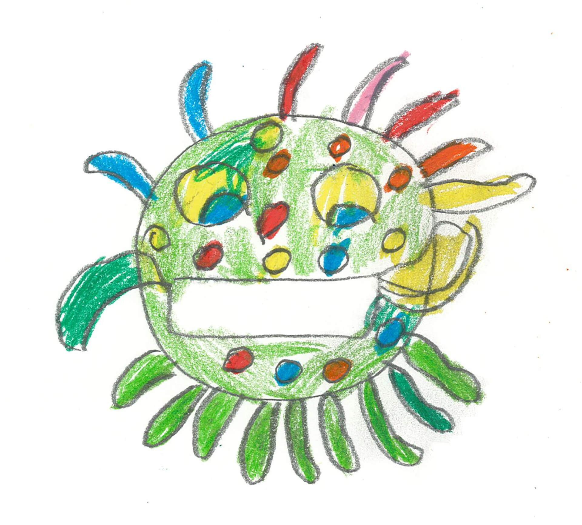 Buntes Corona-Virus trägt Maske.