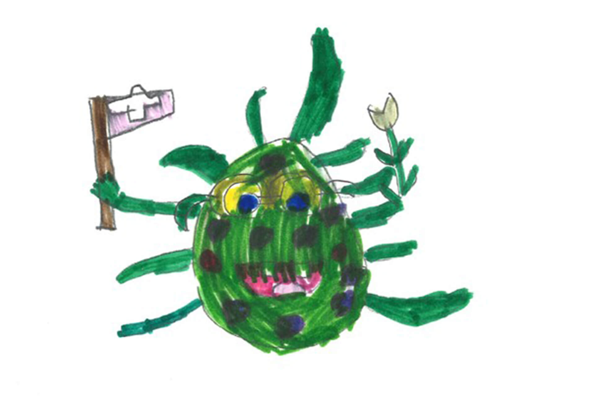 Ein grünes Corona-Virus schwenkt die Schweizer Flagge.